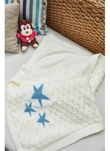 Arma House Çift Taraflı Peluş Mavi Yıldızlı Beyaz Bebek Battaniyesi Renkli